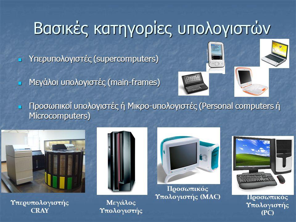 Βασικές κατηγορίες υπολογιστών Υπερυπολογιστές (supercomputers) Υπερυπολογιστές (supercomputers) Μεγάλοι υπολογιστές (main-frames) Μεγάλοι υπολογιστές (main-frames) Προσωπικοί υπολογιστές ή Μικρο-υπολογιστές (Personal computers ή Microcomputers) Προσωπικοί υπολογιστές ή Μικρο-υπολογιστές (Personal computers ή Microcomputers) Υπερυπολογιστής CRAY Μεγάλος Υπολογιστής Προσωπικός Υπολογιστής (MAC) Προσωπικός Υπολογιστής (PC)
