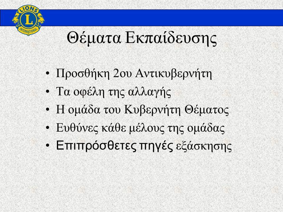 Θέματα Εκπαίδευσης Προσθήκη 2ου Αντικυβερνήτη Τα οφέλη της αλλαγής Η ομάδα του Κυβερνήτη Θέματος Ευθύνες κάθε μέλους της ομάδας Επιπρόσθετες πηγές εξάσκησης