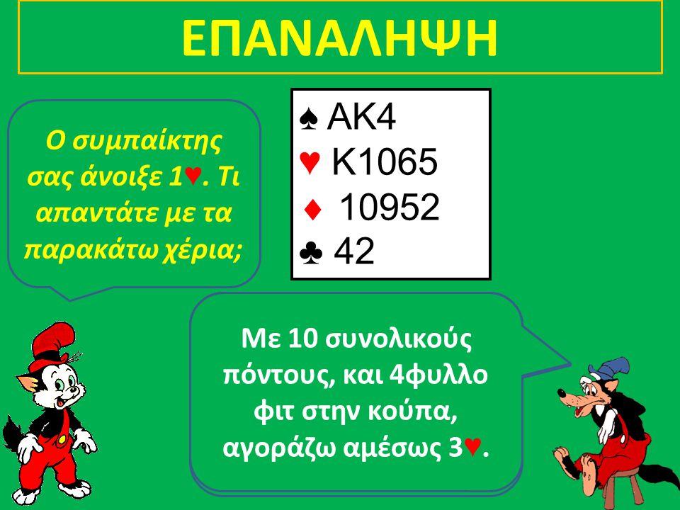 Με 4 συνολικούς πόντους, δεν λέω τίποτα!! Πάσο λοιπόν και γρήγορα!!! Ο συμπαίκτης σας άνοιξε 1 ♥. Τι απαντάτε με τα παρακάτω χέρια; ♠ J73 ♥ 64  Q63 ♣