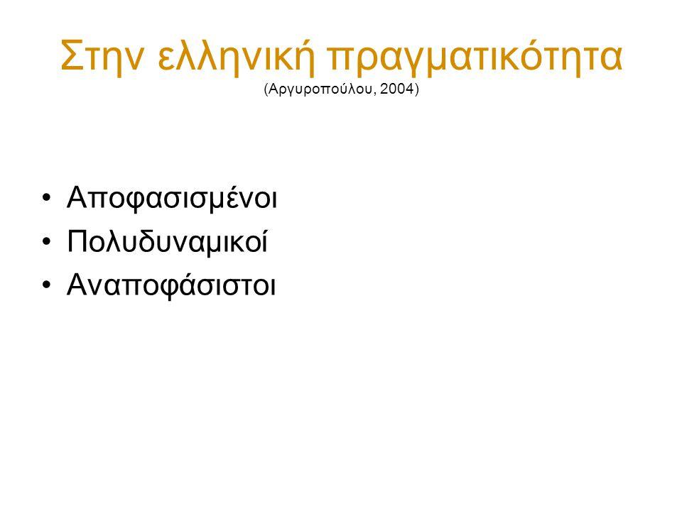 Στην ελληνική πραγματικότητα (Αργυροπούλου, 2004) Αποφασισμένοι Πολυδυναμικοί Αναποφάσιστοι