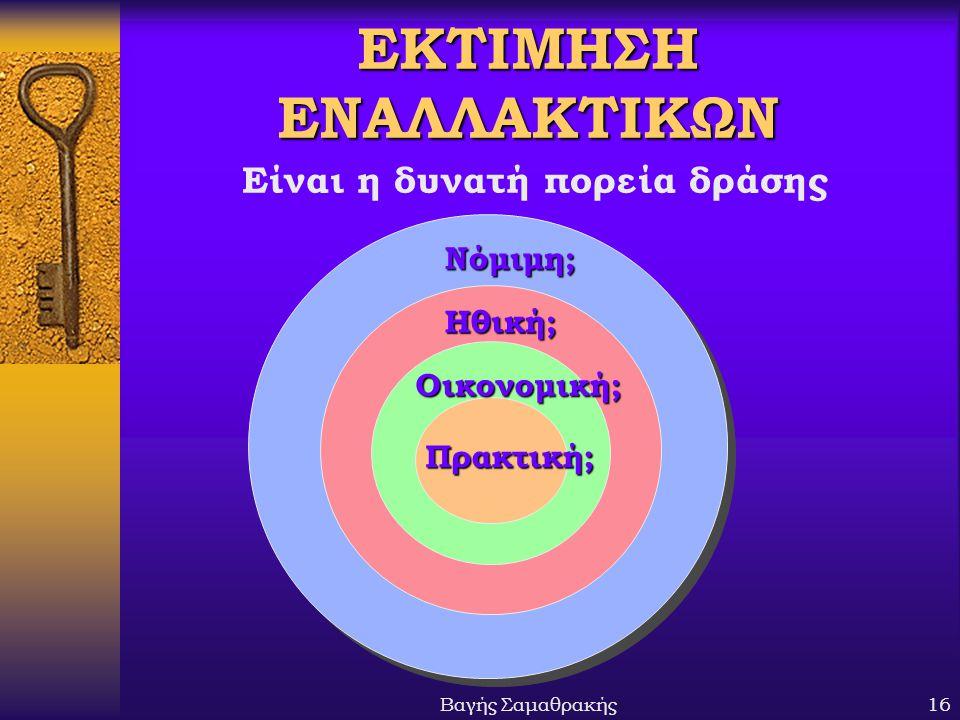 Βαγής Σαμαθρακής16 ΕΚΤΙΜΗΣΗ ΕΝΑΛΛΑΚΤΙΚΩΝ Νόμιμη; Ηθική; Οικονομική; Πρακτική; Είναι η δυνατή πορεία δράσης