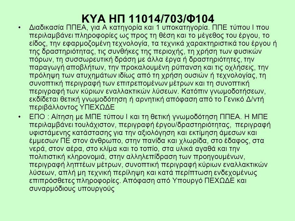ΚΥΑ ΗΠ 11014/703/Φ104 Διαδικασία ΠΠΕΑ, για Α κατηγορία και 1 υποκατηγορία. ΠΠΕ τύπου Ι που περιλαμβάνει πληροφορίες ως προς τη θέση και το μέγεθος του