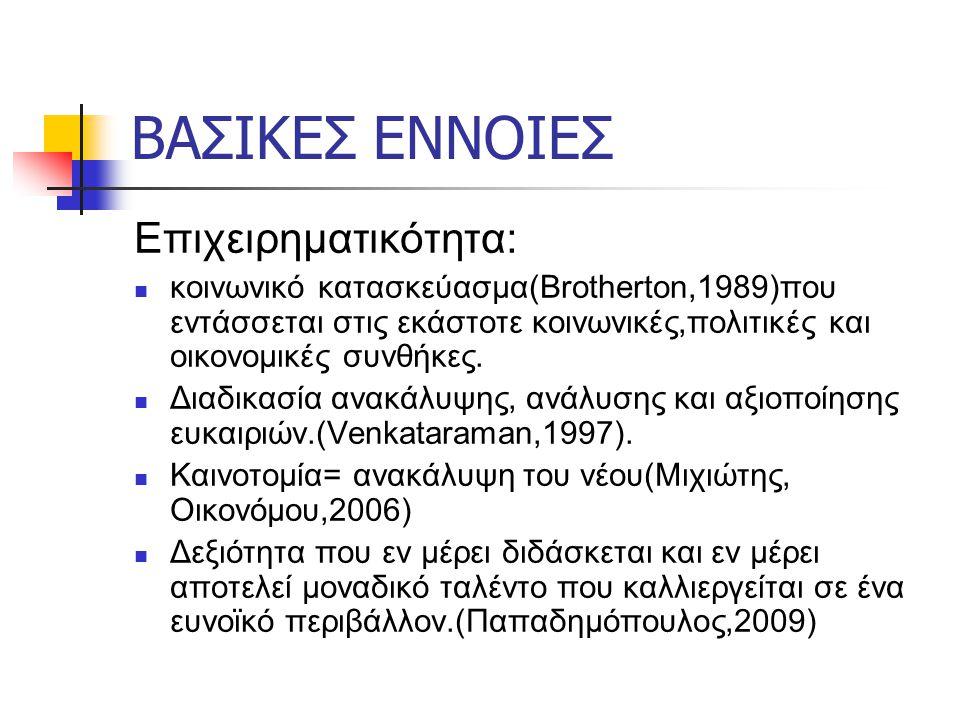 ΒΑΣΙΚΕΣ ΕΝΝΟΙΕΣ Επιχειρηματικότητα: κοινωνικό κατασκεύασμα(Brotherton,1989)που εντάσσεται στις εκάστοτε κοινωνικές,πολιτικές και οικονομικές συνθήκες.