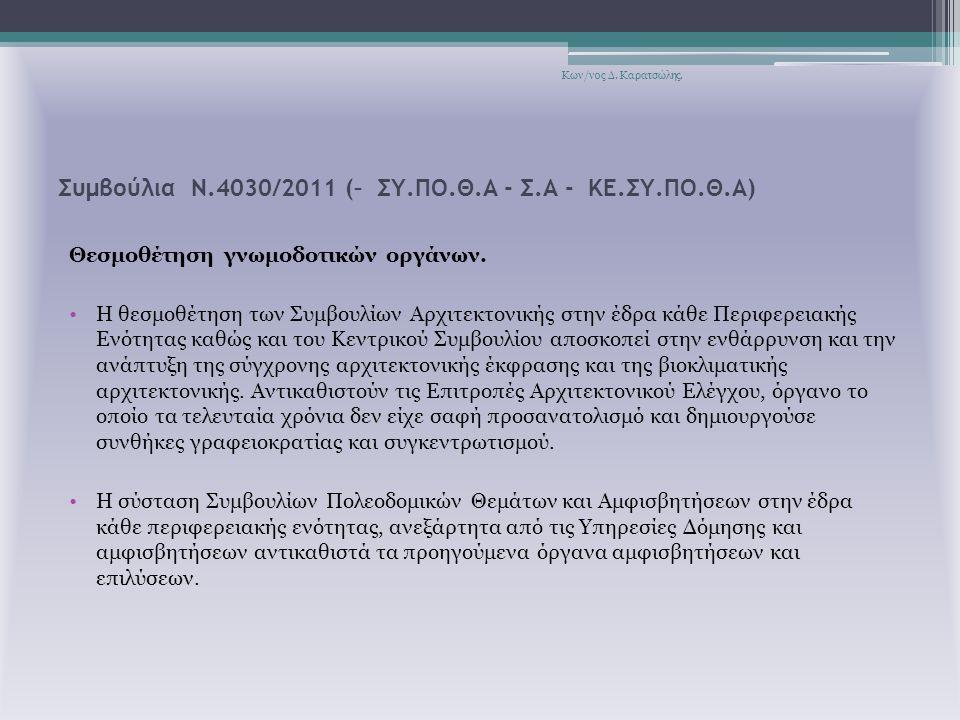 Συμβούλια Ν.4030/2011 (– ΣΥ.ΠΟ.Θ.Α - Σ.Α - ΚΕ.ΣΥ.ΠΟ.Θ.Α) Θεσμοθέτηση γνωμοδοτικών οργάνων.