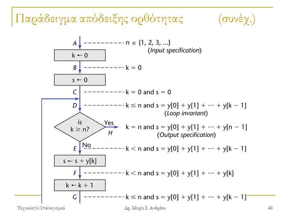 Τεχνολογία Υπολογισμού Δρ. Μαρία Ι. Ανδρέου 40 Παράδειγμα απόδειξης ορθότητας(συνέχ.)