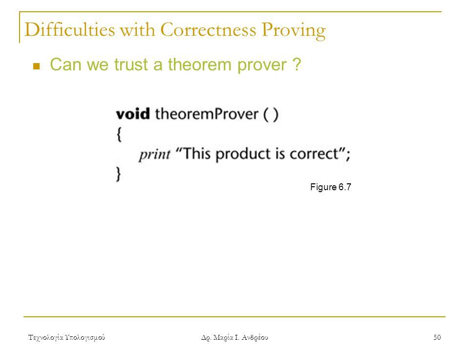 Τεχνολογία Υπολογισμού Δρ. Μαρία Ι. Ανδρέου 50 Can we trust a theorem prover .