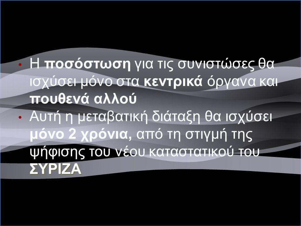 Παράδειγμα Μεταβατικής διάταξης Η ποσόστωση για τις συνιστώσες θα ισχύσει μόνο στα κεντρικά όργανα και πουθενά αλλού ΣΥΡΙΖΑ Αυτή η μεταβατική διάταξη θα ισχύσει μόνο 2 χρόνια, από τη στιγμή της ψήφισης του νέου καταστατικού του ΣΥΡΙΖΑ