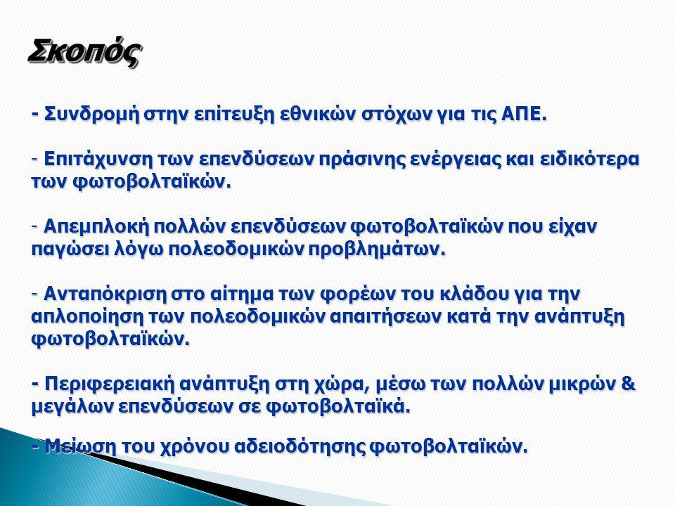 Γενικές Αρχές Απευθύνεται σε όλους τους επενδυτές φωτοβολταϊκών που εγκαθιστούν επί εδάφους, ανά την επικράτεια (Ηπειρωτική Ελλάδα & νησιά).