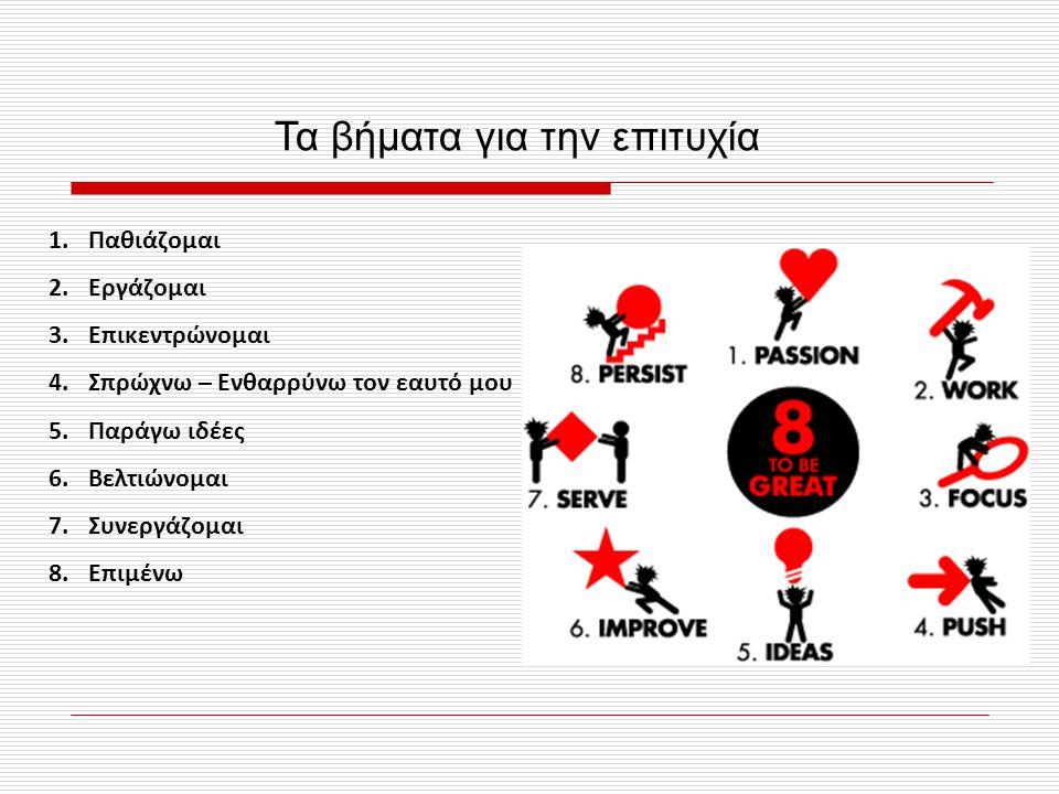 Τα βήματα για την επιτυχία 1.Παθιάζομαι 2.Εργάζομαι 3.Επικεντρώνομαι 4.Σπρώχνω – Ενθαρρύνω τον εαυτό μου 5.Παράγω ιδέες 6.Βελτιώνομαι 7.Συνεργάζομαι 8.Επιμένω
