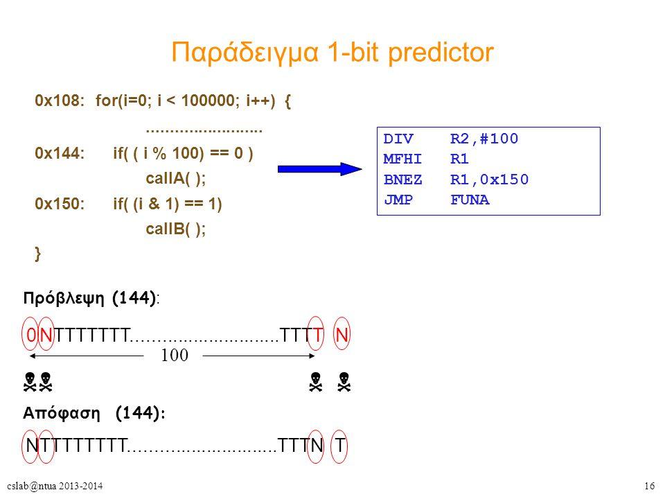 16cslab@ntua 2013-2014 Παράδειγμα 1-bit predictor 0x108: for(i=0; i < 100000; i++) {.........................