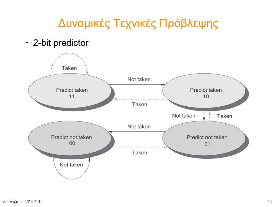 22cslab@ntua 2013-2014 Δυναμικές Τεχνικές Πρόβλεψης 2-bit predictor