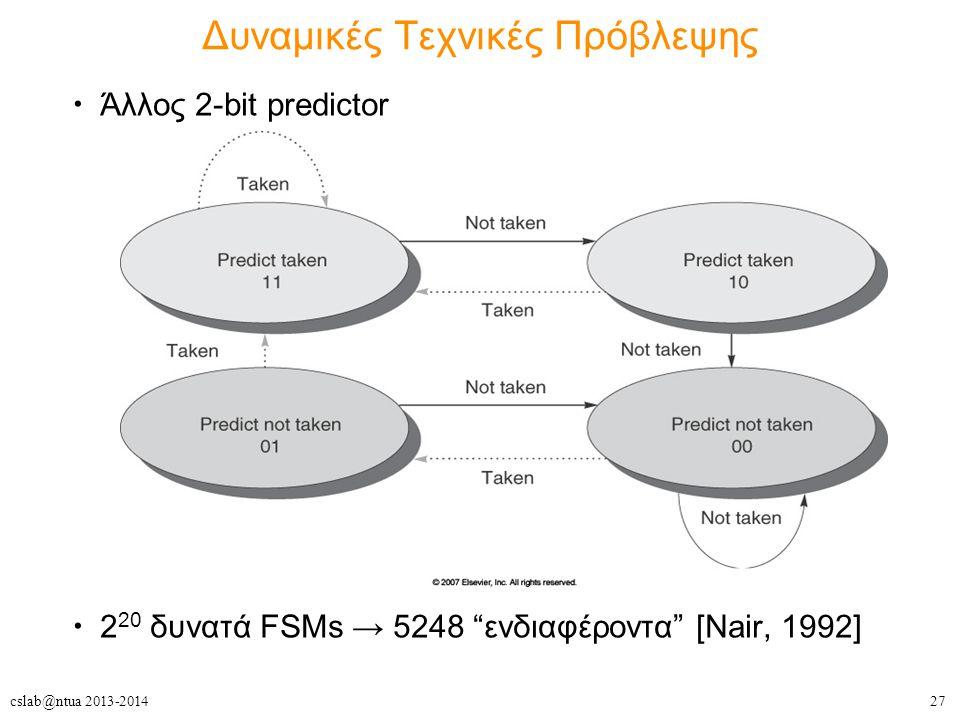 27cslab@ntua 2013-2014 Δυναμικές Τεχνικές Πρόβλεψης Άλλος 2-bit predictor 2 20 δυνατά FSMs → 5248 ενδιαφέροντα [Nair, 1992]