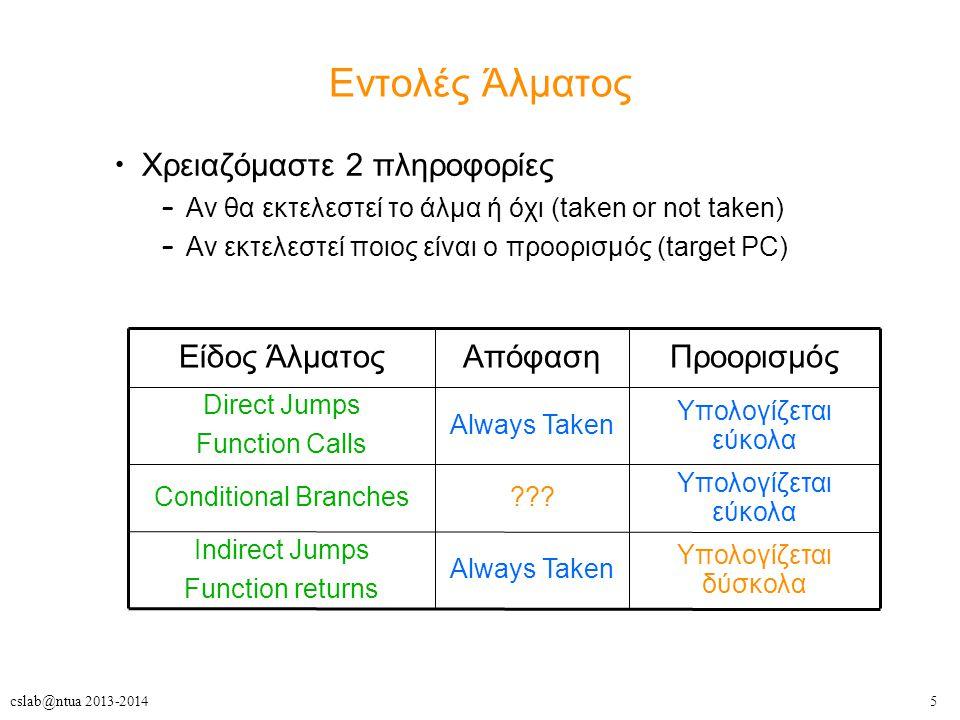 5cslab@ntua 2013-2014 Εντολές Άλματος Χρειαζόμαστε 2 πληροφορίες – Αν θα εκτελεστεί το άλμα ή όχι (taken or not taken) – Αν εκτελεστεί ποιος είναι ο προορισμός (target PC) Υπολογίζεται δύσκολα Always Taken Indirect Jumps Function returns Υπολογίζεται εύκολα ???Conditional Branches Υπολογίζεται εύκολα Always Taken Direct Jumps Function Calls ΠροορισμόςΑπόφασηΕίδος Άλματος