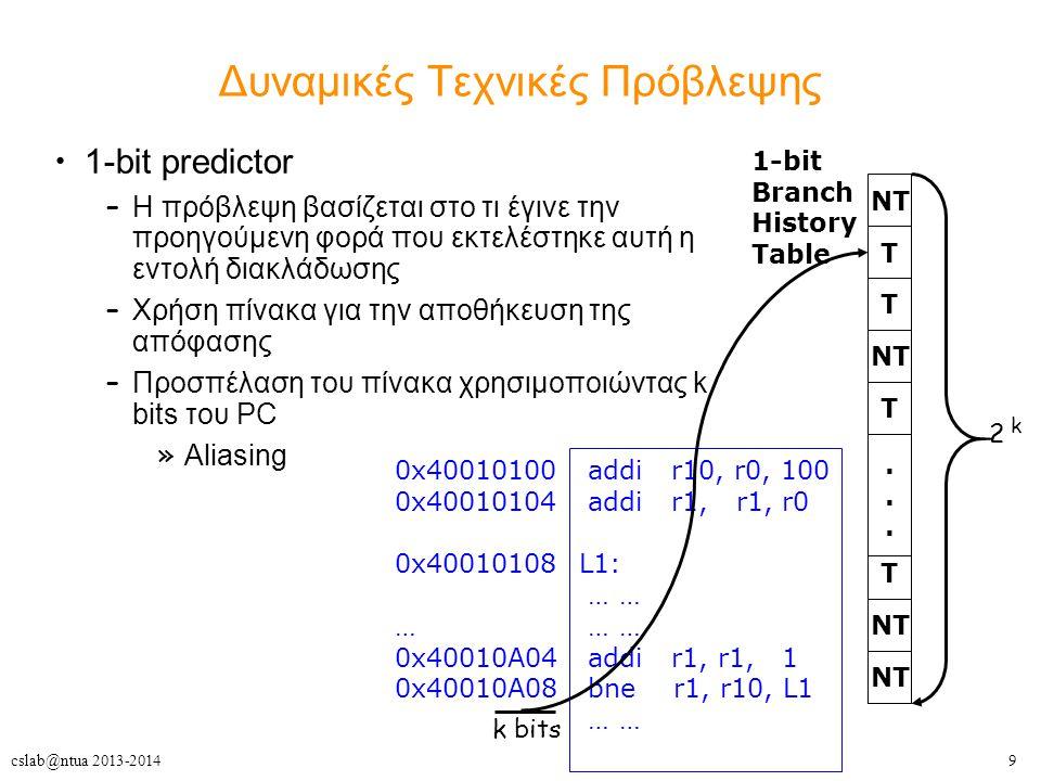 9cslab@ntua 2013-2014 Δυναμικές Τεχνικές Πρόβλεψης 1-bit predictor – Η πρόβλεψη βασίζεται στο τι έγινε την προηγούμενη φορά που εκτελέστηκε αυτή η εντολή διακλάδωσης – Χρήση πίνακα για την αποθήκευση της απόφασης – Προσπέλαση του πίνακα χρησιμοποιώντας k bits του PC » Aliasing 1-bit Branch History Table T NT T T......