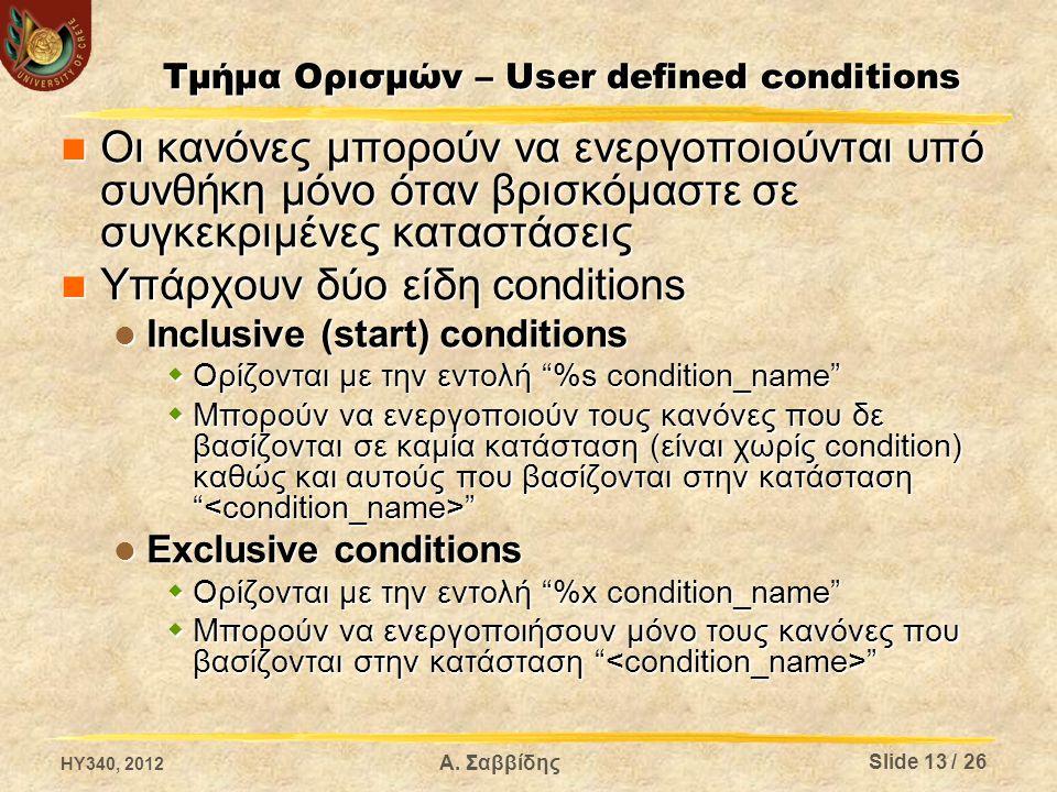 Α. Σαββίδης Τμήμα Ορισμών – User defined conditions Οι κανόνες μπορούν να ενεργοποιούνται υπό συνθήκη μόνο όταν βρισκόμαστε σε συγκεκριμένες καταστάσε