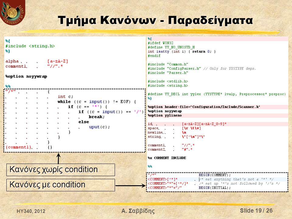 Α. Σαββίδης Τμήμα Κανόνων - Παραδείγματα Κανόνες χωρίς condition Κανόνες με condition Slide 19 / 26 HY340, 2012