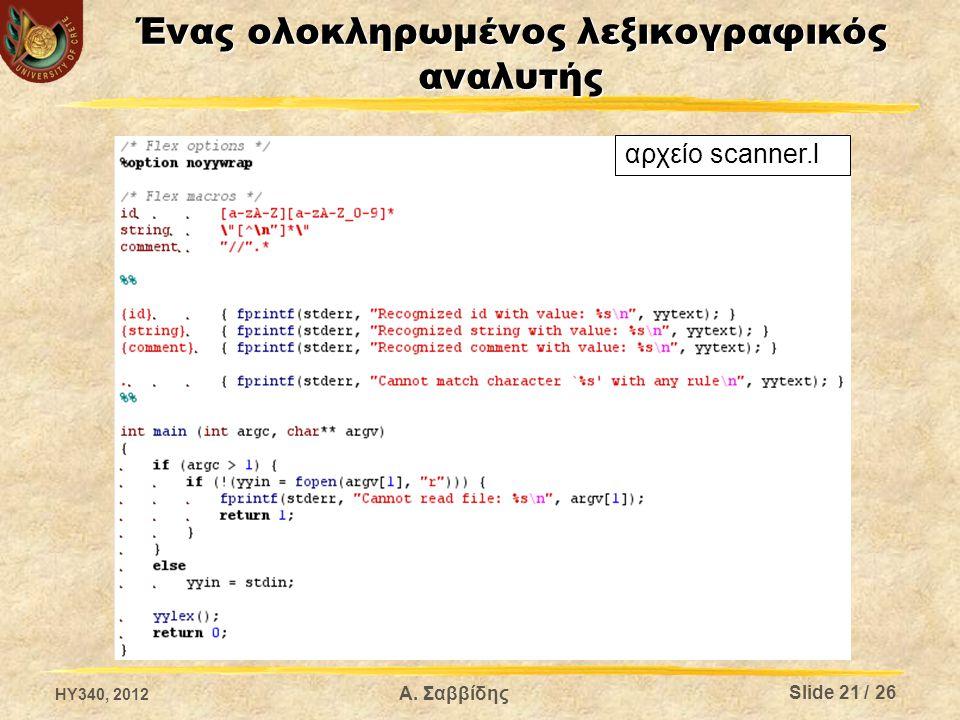 Α. Σαββίδης Ένας ολοκληρωμένος λεξικογραφικός αναλυτής αρχείο scanner.l Slide 21 / 26 HY340, 2012