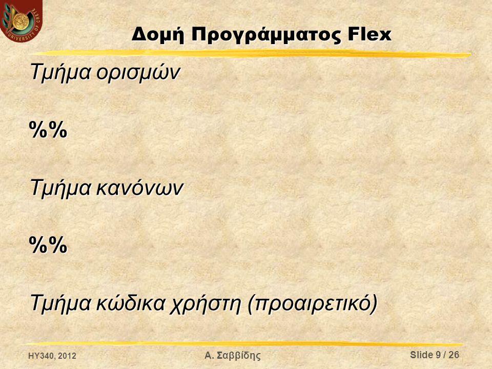 Α. Σαββίδης Δομή Προγράμματος Flex Τμήμα ορισμών % Τμήμα κανόνων % Τμήμα κώδικα χρήστη (προαιρετικό) Slide 9 / 26 HY340, 2012