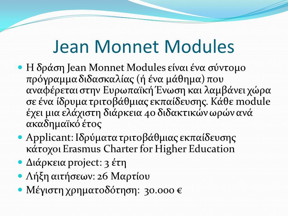 Jean Monnet Modules Η δράση Jean Monnet Modules είναι ένα σύντομο πρόγραμμα διδασκαλίας (ή ένα μάθημα) που αναφέρεται στην Ευρωπαϊκή Ένωση και λαμβάνει χώρα σε ένα ίδρυμα τριτοβάθμιας εκπαίδευσης.