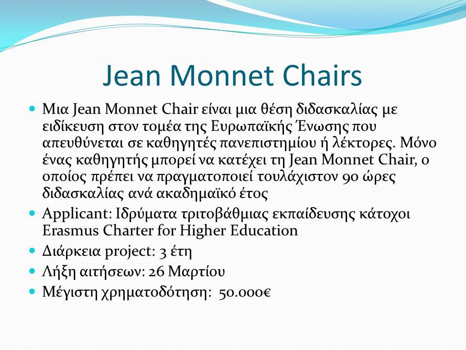 Jean Monnet Chairs Μια Jean Monnet Chair είναι μια θέση διδασκαλίας με ειδίκευση στον τομέα της Ευρωπαϊκής Ένωσης που απευθύνεται σε καθηγητές πανεπιστημίου ή λέκτορες.