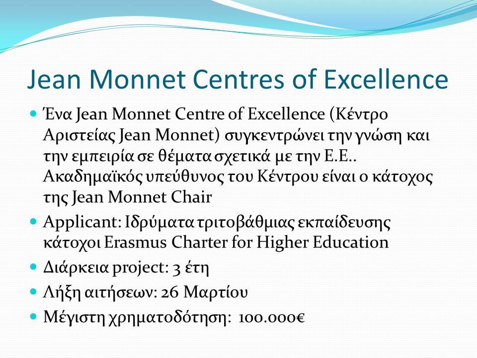 Jean Monnet Centres of Excellence Ένα Jean Monnet Centre of Excellence (Κέντρο Αριστείας Jean Monnet) συγκεντρώνει την γνώση και την εμπειρία σε θέματα σχετικά με την Ε.Ε..
