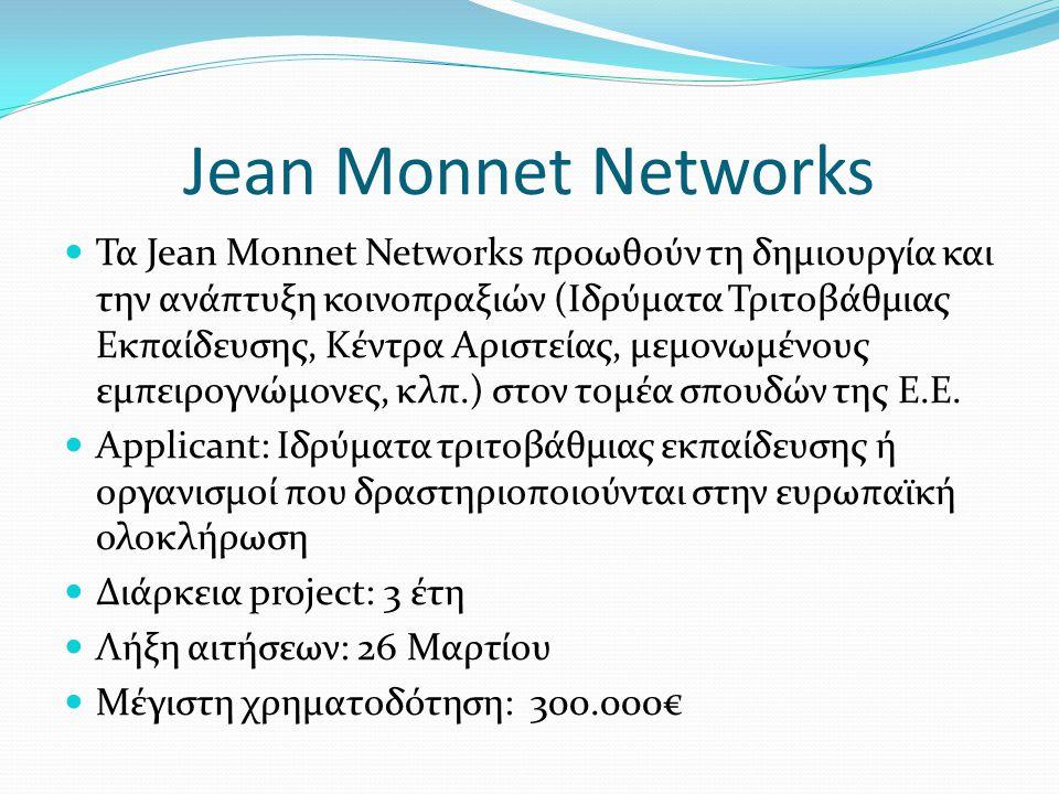Jean Monnet Networks Τα Jean Monnet Networks προωθούν τη δημιουργία και την ανάπτυξη κοινοπραξιών (Ιδρύματα Τριτοβάθμιας Εκπαίδευσης, Κέντρα Αριστείας, μεμονωμένους εμπειρογνώμονες, κλπ.) στον τομέα σπουδών της Ε.Ε.