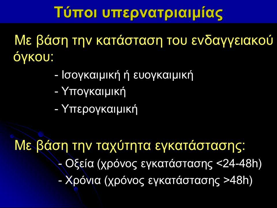 Τύποι υπερνατριαιμίας Με βάση την κατάσταση του ενδαγγειακού όγκου: - Ισογκαιμική ή ευογκαιμική - Υπογκαιμική - Υπερογκαιμική Με βάση την ταχύτητα εγκ