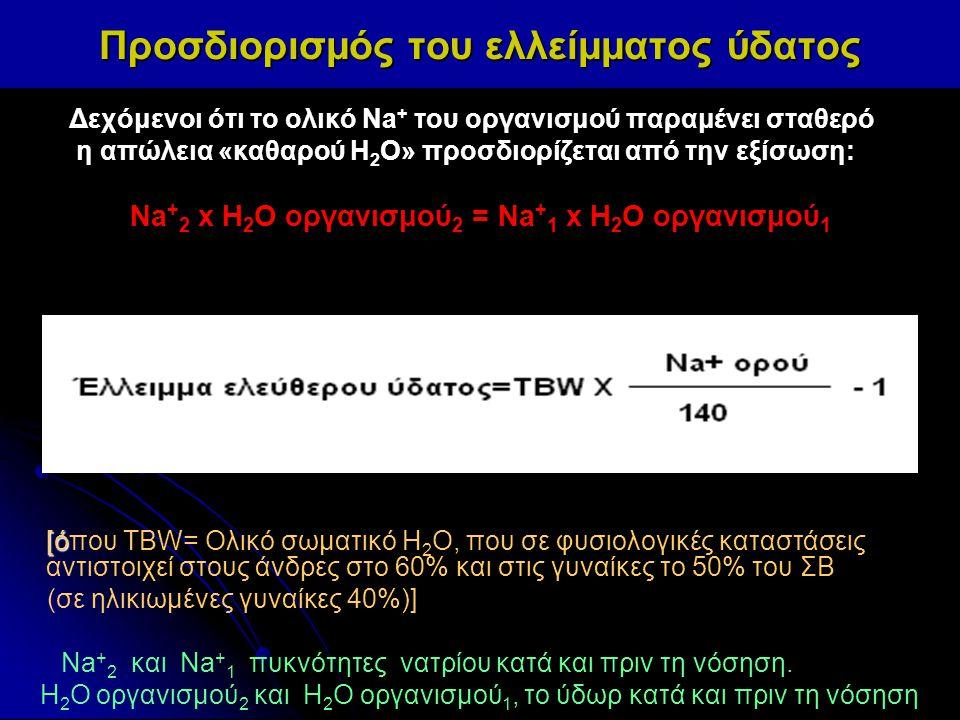 Δεχόμενοι ότι το ολικό Na + του οργανισμού παραμένει σταθερό η απώλεια «καθαρού H 2 O» προσδιορίζεται από την εξίσωση: Νa + 2 x Η 2 Ο οργανισμού 2 = Ν