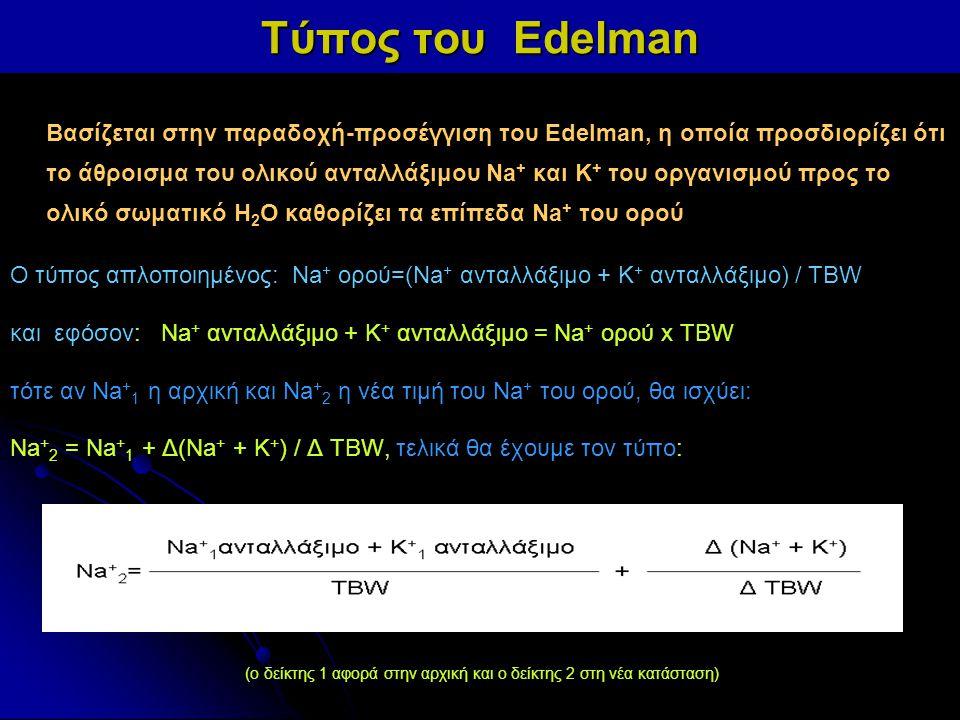 Τύπος του Edelman Βασίζεται στην παραδοχή-προσέγγιση του Edelman, η οποία προσδιορίζει ότι το άθροισμα του ολικού ανταλλάξιμου Na + και K + του οργανι