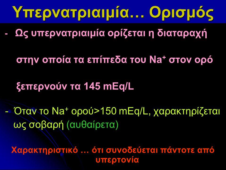 Υπερνατριαιμία… Ορισμός - Ως υπερνατριαιμία ορίζεται η διαταραχή στην οποία τα επίπεδα του Na + στον ορό ξεπερνούν τα 145 mEq/L - Όταν το Νa + ορού>15