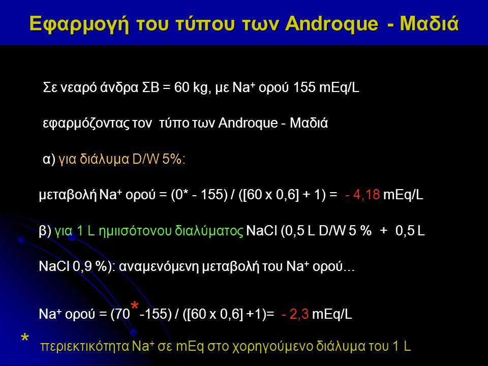 Εφαρμογή του τύπου των Androque - Μαδιά Σε νεαρό άνδρα ΣΒ = 60 kg, με Na + ορού 155 mEq/L εφαρμόζοντας τον τύπο των Androque - Μαδιά α) για διάλυμα D/