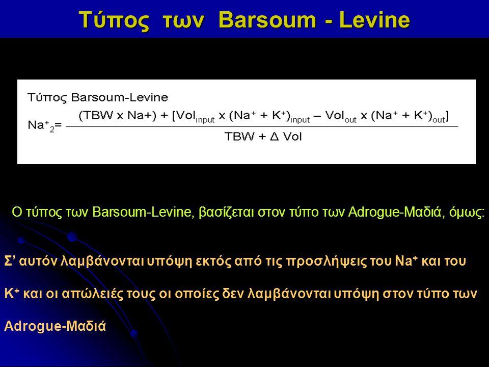 Τύπος των Barsoum - Levine Ο τύπος των Barsoum-Levine, βασίζεται στον τύπο των Adrogue-Μαδιά, όμως: Σ' αυτόν λαμβάνονται υπόψη εκτός από τις προσλήψει