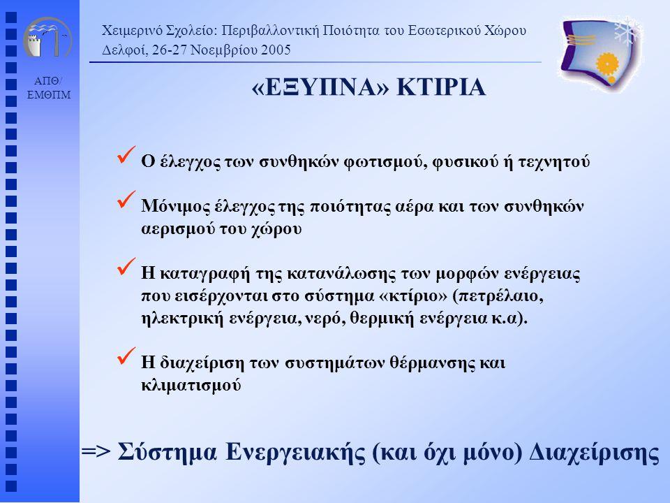 ΑΠΘ/ ΕΜΘΠΜ «ΕΞΥΠΝΑ» ΚΤΙΡΙΑ Χειμερινό Σχολείο: Περιβαλλοντική Ποιότητα του Εσωτερικού Χώρου Δελφοί, 26-27 Νοεµβρίου 2005 => Σύστημα Ενεργειακής (και όχι μόνο) Διαχείρισης Ο έλεγχος των συνθηκών φωτισμού, φυσικού ή τεχνητού Μόνιμος έλεγχος της ποιότητας αέρα και των συνθηκών αερισμού του χώρου Η καταγραφή της κατανάλωσης των μορφών ενέργειας που εισέρχονται στο σύστημα «κτίριο» (πετρέλαιο, ηλεκτρική ενέργεια, νερό, θερμική ενέργεια κ.α).