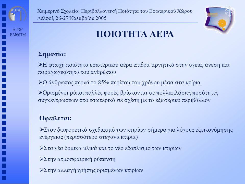 ΑΠΘ/ ΕΜΘΠΜ Ενδεικνυόμενες τιμές αερισμού χώρων (ΤΟΤΕΕ 2423/86) Χειμερινό Σχολείο: Περιβαλλοντική Ποιότητα του Εσωτερικού Χώρου Δελφοί, 26-27 Νοεµβρίου 2005 ΑΕΡΙΣΜΟΣ ΕΙΔΟΣ ΧΩΡΟΥΚΑΠΝΙΖΟΝΤΕΣ(m 3 /h.άτομο) Διαμερίσματα συνήθηΜερικοί8,5 ΜπαρΠάρα πολλοί25,5 ΚαταστήματαΚανένας8,5 ΕργοστάσιαΚανένας8,5 Νοσοκομεία, ΧειρουργείαΚανέναςΕιδικός κλιματισμός ΕργαστήριαΜερικοί8,5 Χώροι συγκεντρώσεωνΕκτάκτως πολλοί25,5 Γραφεία συλλογικάΜερικοί8,5 Σχολεία - αίθουσες διδασκαλίας Κανένας17,0 ΘέατραΚανένας8,5