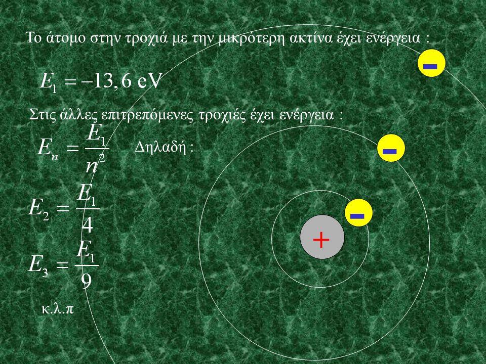 Η τροχιά με την μικρότερη ακτίνα ονομάζεται τροχιά του Bohr και είναι : Οι άλλες επιτρεπόμενες τροχιές έχουν ακτίνες : Δηλαδή : κ.λ.π + - - -