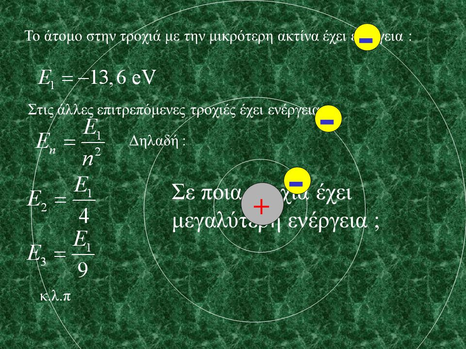 Το άτομο στην τροχιά με την μικρότερη ακτίνα έχει ενέργεια : Στις άλλες επιτρεπόμενες τροχιές έχει ενέργεια : Δηλαδή : κ.λ.π + - - -
