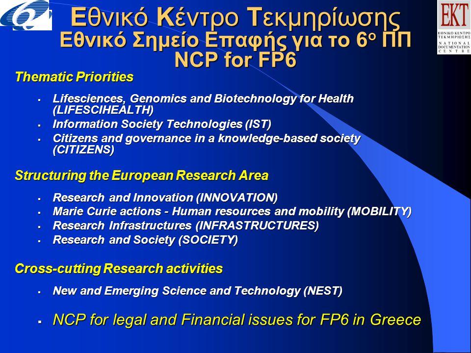 ΕΚΤ- Εθνικό Σημείο Επαφής για το IST Χρήσιμες Διευθύνσεις http://www.ekt.grhttp://www.ekt.gr/ncpfp6http://www.ekt.gr/researchhttp://www.cordis.lu/isthttp://www.ideal-ist.nethttp://europa.eu.int/comm/research/fp6/http://www.cordis.lu/greece/