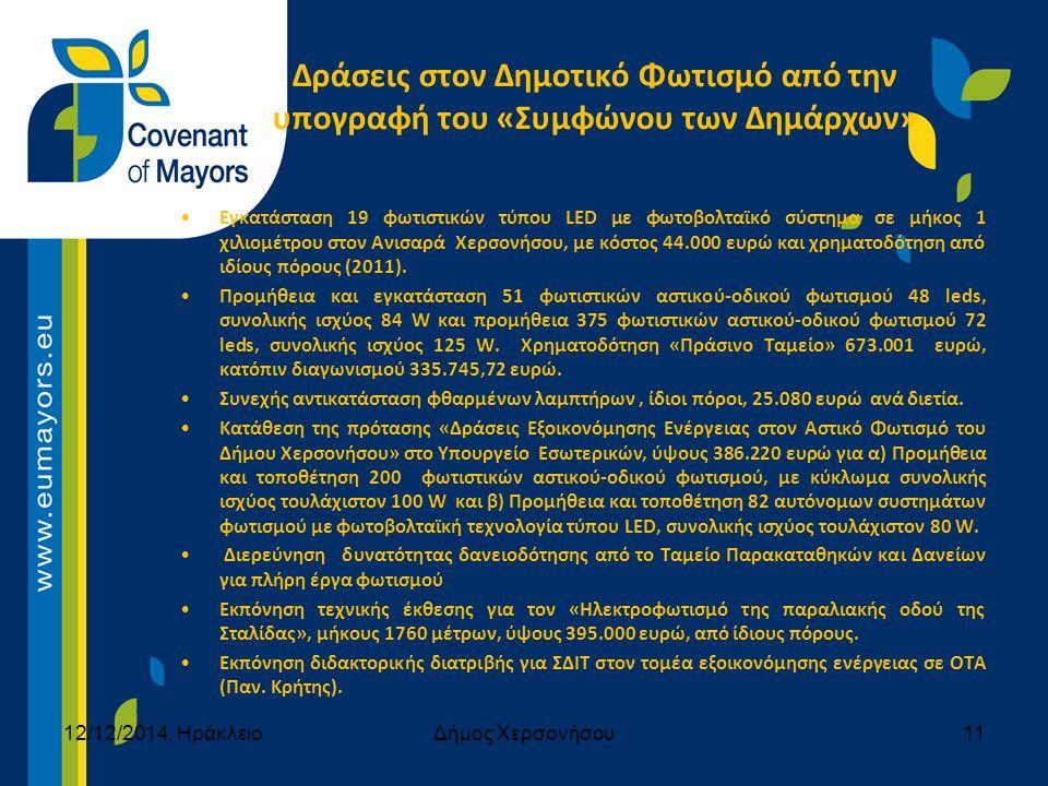 Δράσεις στον Δημοτικό Φωτισμό από την υπογραφή του «Συμφώνου των Δημάρχων» Εγκατάσταση 19 φωτιστικών τύπου LED με φωτοβολταϊκό σύστημα σε μήκος 1 χιλιομέτρου στον Ανισαρά Χερσονήσου, με κόστος 44.000 ευρώ και χρηματοδότηση από ιδίους πόρους (2011).