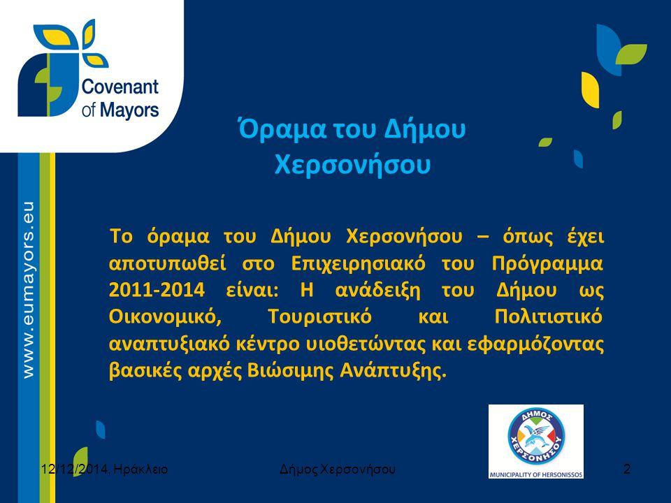 Όραμα του Δήμου Χερσονήσου Το όραμα του Δήμου Χερσονήσου – όπως έχει αποτυπωθεί στο Επιχειρησιακό του Πρόγραμμα 2011-2014 είναι: Η ανάδειξη του Δήμου ως Οικονομικό, Τουριστικό και Πολιτιστικό αναπτυξιακό κέντρο υιοθετώντας και εφαρμόζοντας βασικές αρχές Βιώσιμης Ανάπτυξης.
