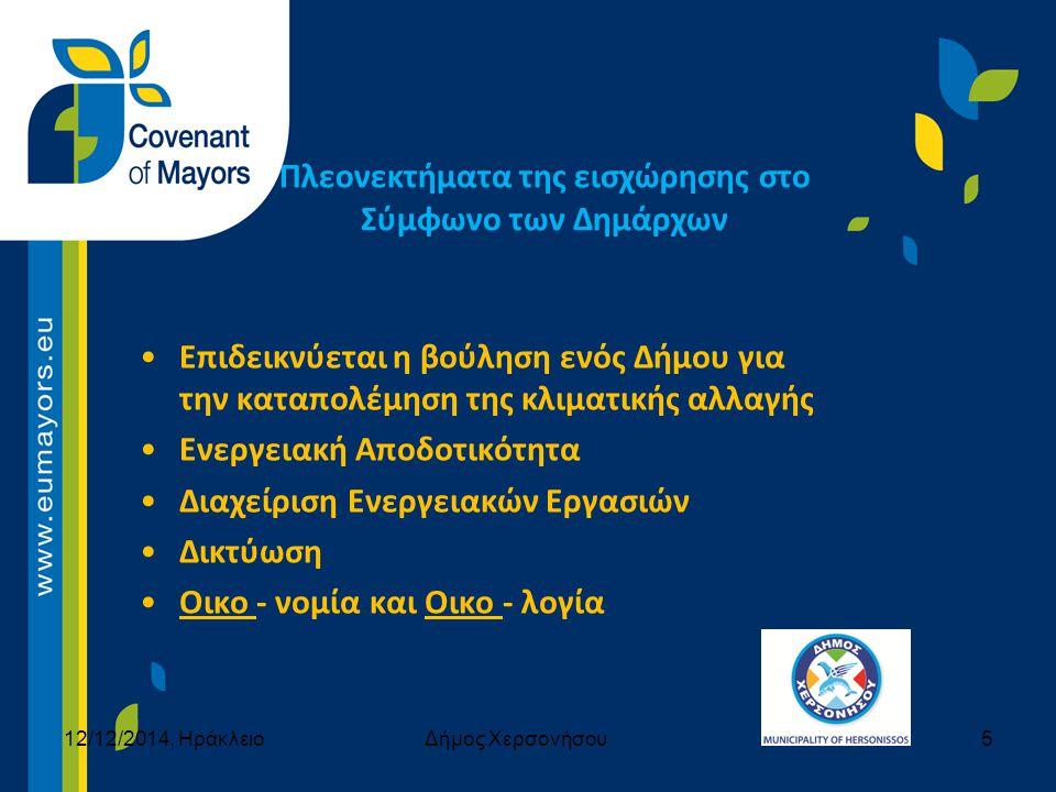 Πλεονεκτήματα της εισχώρησης στο Σύμφωνο των Δημάρχων Επιδεικνύεται η βούληση ενός Δήμου για την καταπολέμηση της κλιματικής αλλαγής Ενεργειακή Αποδοτικότητα Διαχείριση Ενεργειακών Εργασιών Δικτύωση Οικο - νομία και Οικο - λογία 12/12/2014, ΗράκλειοΔήμος Χερσονήσου5