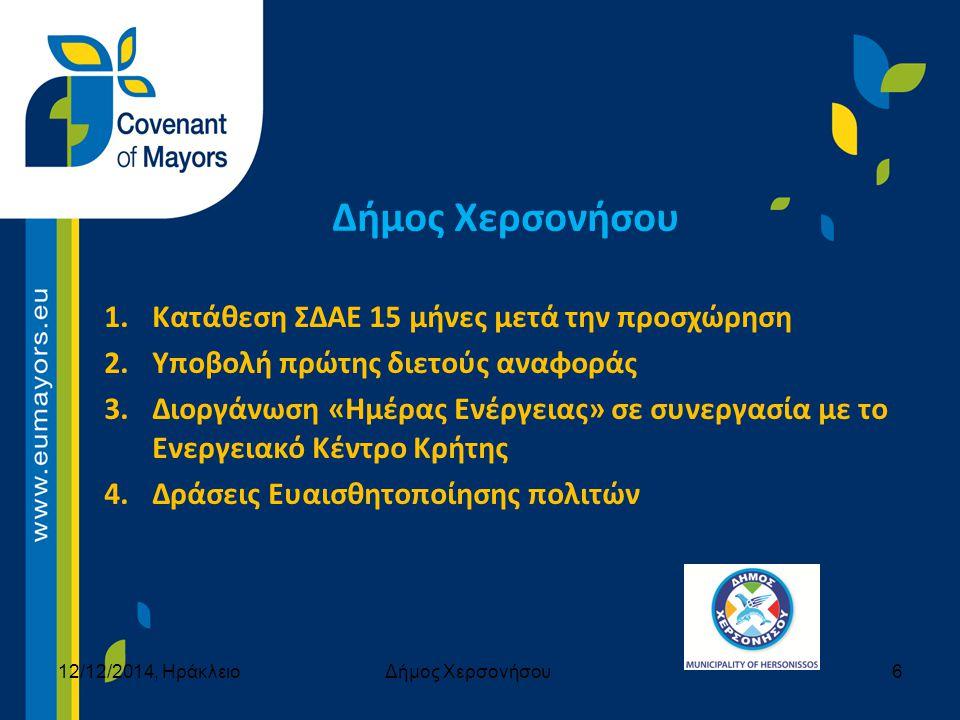 1.Κατάθεση ΣΔΑΕ 15 μήνες μετά την προσχώρηση 2.Υποβολή πρώτης διετούς αναφοράς 3.Διοργάνωση «Ημέρας Ενέργειας» σε συνεργασία με το Ενεργειακό Κέντρο Κ