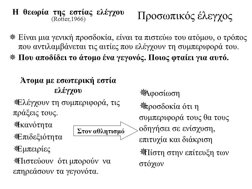 Προσωπικός έλεγχος Η θεωρία της εστίας ελέγχου (Rotter,1966)  Είναι μια γενική προσδοκία, είναι τα πιστεύω του ατόμου, ο τρόπος που αντιλαμβάνεται τι