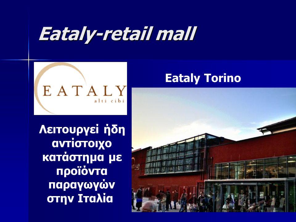 Eataly-retail mall Eataly Torino Λειτουργεί ήδη αντίστοιχο κατάστημα με προϊόντα παραγωγών στην Ιταλία
