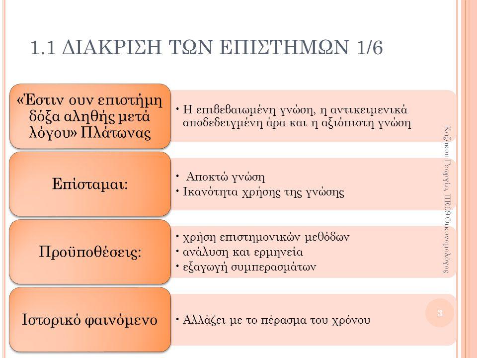 1.2 ΛΟΓΟΙ ΕΜΦΑΝΙΣΗΣ ΤΩΝ ΚΟΙΝΩΝΙΚΩΝ ΕΠΙΣΤΗΜΩΝ 5/5 Οικονομία Εμποροκρατία ή Μερκαντιλισμός (16 ος -17 ος αι μ.Χ.): η ρύθμιση της οικονομίας από το κράτος Φυσιοκρατία (18 ος αι μ.Χ.): ελευθερία στις συναλλαγές Πολιτική Μεσαίωνας: θεϊκό δίκαιο Διαφωτισμός (17 ος αι Αγγλία, 18 ος Γαλλία): φυσικό δίκαιο Θετικισμός (19 ος αι μ.Χ.): τα κοινωνικά φαινόμενα πρέπει να μελετώνται όπως τα φυσικά Κοινωνιολογία Αύγουστος Κοντ (1718-1857) ιδρυτής της Κοινωνιολογίας και υποστηρικτής του θετικισμού Καρλ Μαρξ (1818- 1883) ανέλυσε την ανισότητα και εκμετάλλευση του καπιταλισμού και πρότεινε τον σοσιαλισμό 14 Καζάκου Γεωργία, ΠΕ09 Οικονομολόγος