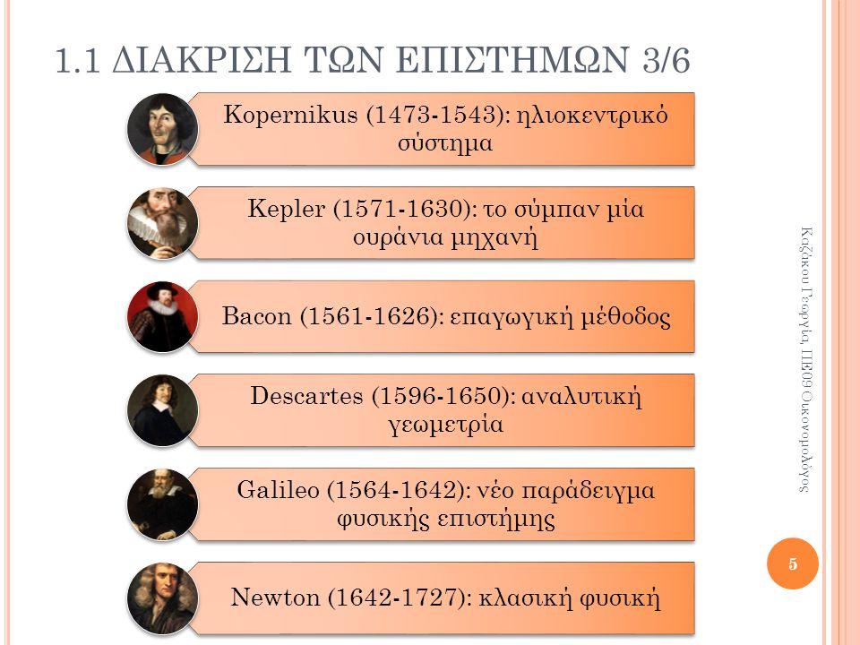 Kopernikus (1473-1543): ηλιοκεντρικό σύστημα Kepler (1571-1630): το σύμπαν μία ουράνια μηχανή Bacon (1561-1626): επαγωγική μέθοδος Descartes (1596-1650): αναλυτική γεωμετρία Galileo (1564-1642): νέο παράδειγμα φυσικής επιστήμης Newton (1642-1727): κλασική φυσική 1.1 ΔΙΑΚΡΙΣΗ ΤΩΝ ΕΠΙΣΤΗΜΩΝ 3/6 5 Καζάκου Γεωργία, ΠΕ09 Οικονομολόγος