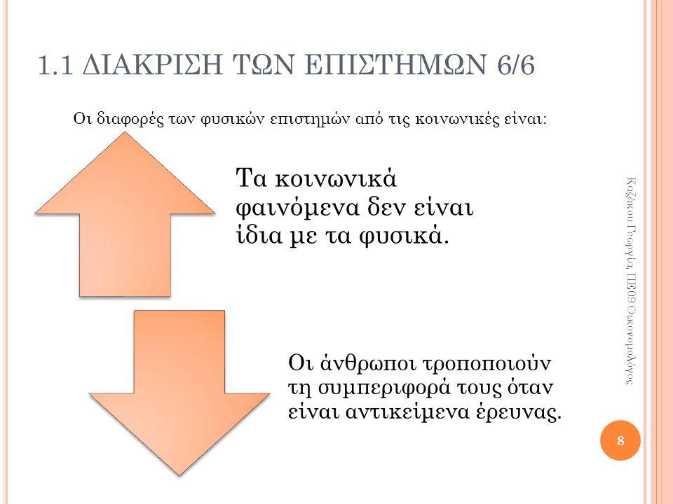 ΚΕΦΑΛΑΙΟ 1 Ο Ενότητα 1.2 Λόγοι εμφάνισης των κοινωνικών επιστημών 9 Καζάκου Γεωργία, ΠΕ09 Οικονομολόγος