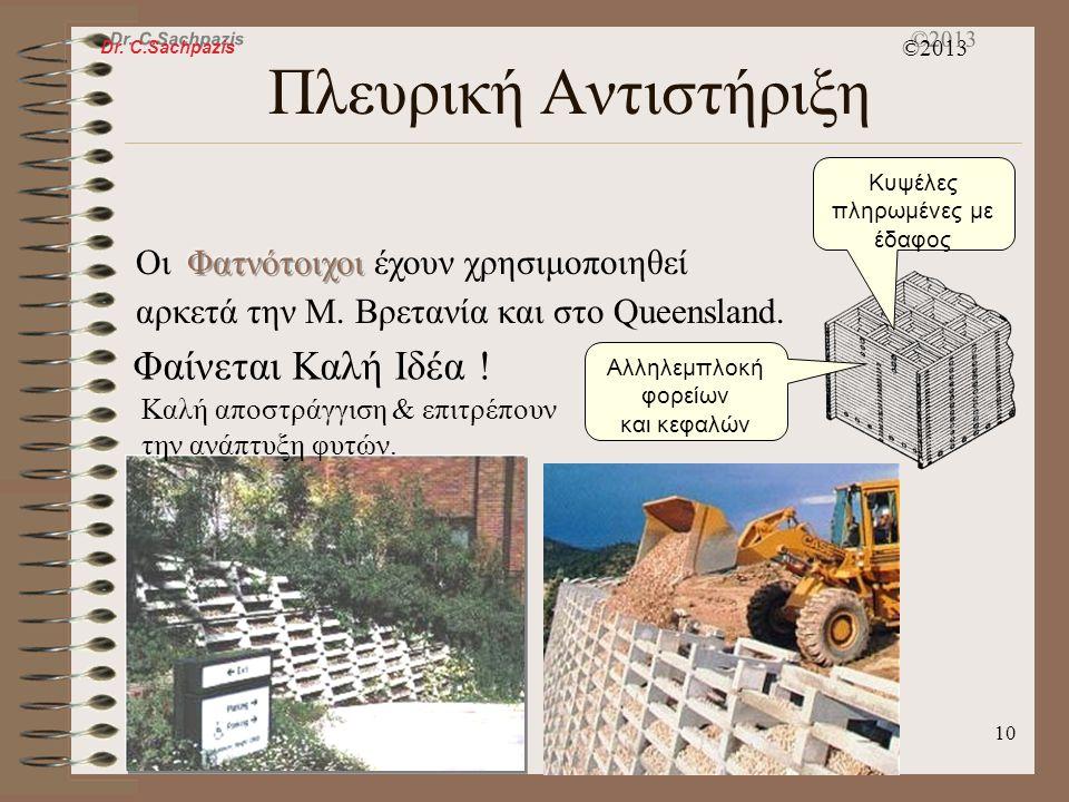 Dr. C.Sachpazis ©2013 9 Πλευρική Αντιστήριξη γεωσυνθετικά