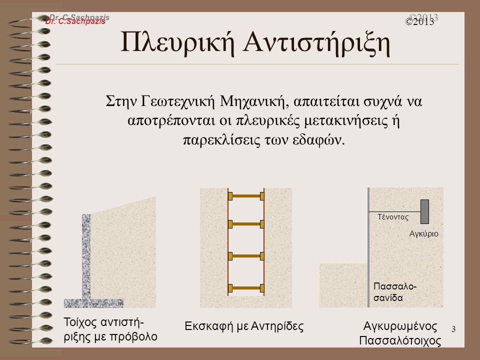Dr. C.Sachpazis ©2013 2 Γεωτεχνικές Εφαρμογές K 0, ενεργητικές & παθητικές συνθήκες Θεωρεία Ωθήσεων Γαιών Rankine Σχεδιασμός τοίχων αντιστήριξης Μικρό