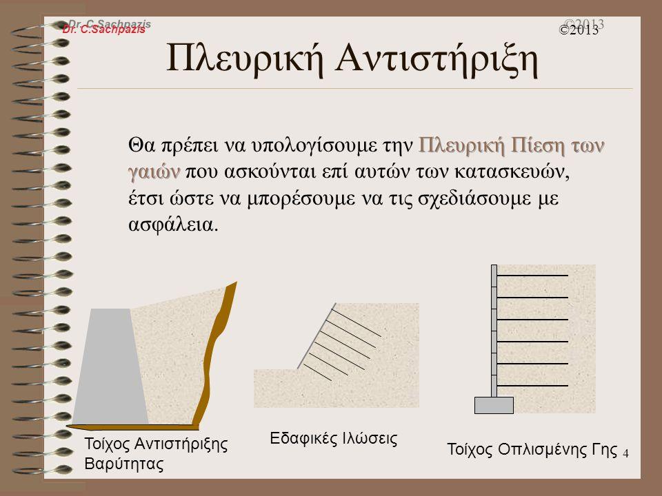 Dr. C.Sachpazis ©2013 3 Πλευρική Αντιστήριξη Στην Γεωτεχνική Μηχανική, απαιτείται συχνά να αποτρέπονται οι πλευρικές μετακινήσεις ή παρεκλίσεις των εδ