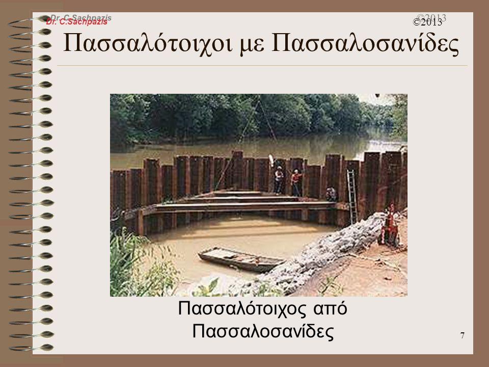 Dr. C.Sachpazis ©2013 6 Πασσαλότοιχοι με Πασσαλοσανίδες Πασσαλοσανίδες χαρακτηρισμένες για έμπυξη